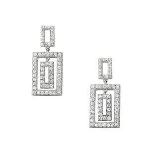 white gold rectangle drop diamond earrings