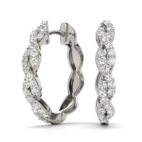 platinum twisted diamond hoop earrings