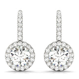 white gold halo drop diamond earrings