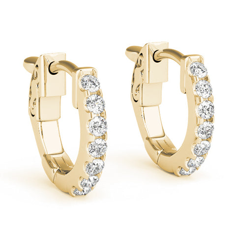 yellow gold single row diamond huggies