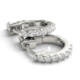 white gold single row diamond huggie earrings
