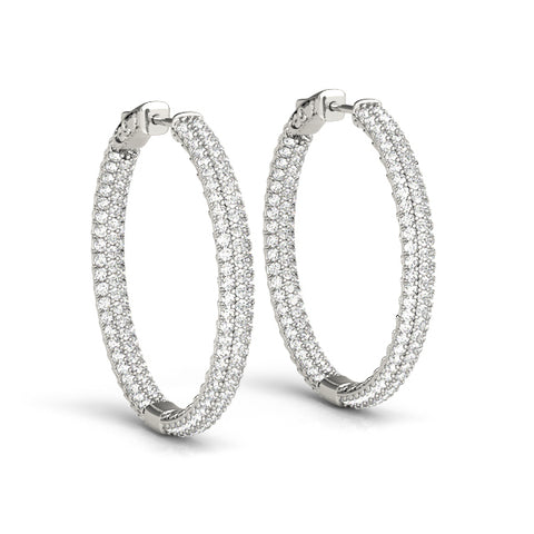 white gold pave inside out diamond hoop earrings