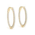 yellow gold inside out oval diamond hoop earrings