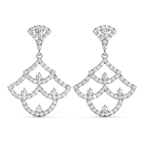 white gold diamond fashion drop earrings