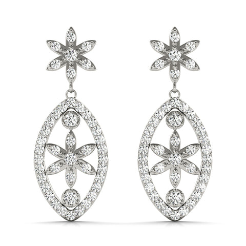white gold floral drop diamond earrings