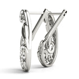 white gold swirl diamond j hoop earrings
