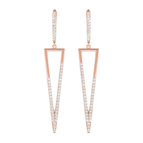 rose gold triangle drop diamond earrings