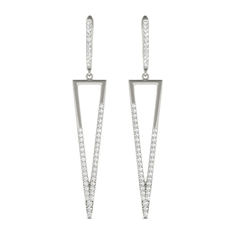white gold triangle drop diamond earrings