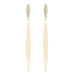yellow gold matte fashion diamond drop earrings