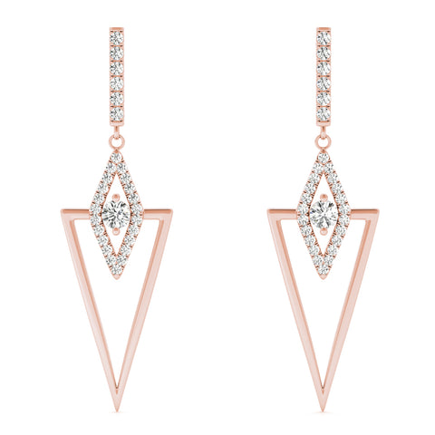 rose gold triangular diamond drop earrings