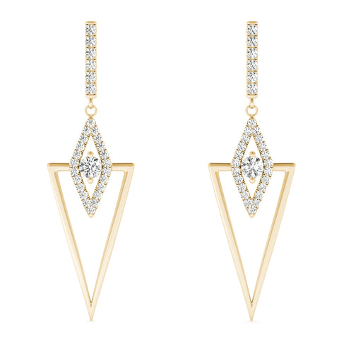 yellow gold triangular diamond drop earrings