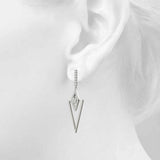white gold triangular diamond drop earrings