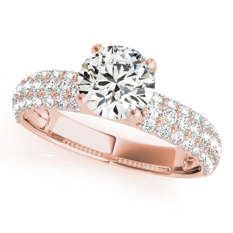 rose gold multi row pave set engagement ring