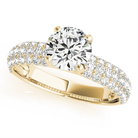yellow gold multi row pave engagement ring