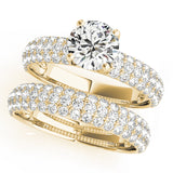 yellow gold multi row pave engagement ring and multi row pave diamond wedding band