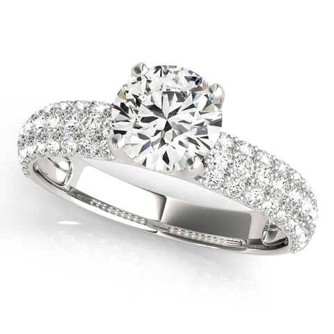 white gold multi row pave set engagement ring