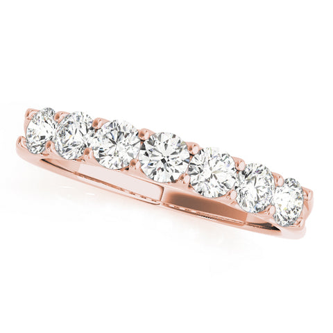 rose gold 7-stone diamond wedding band