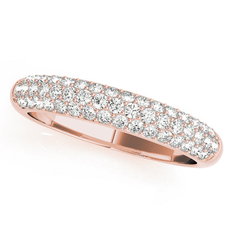 rose gold triple row diamond pave wedding band