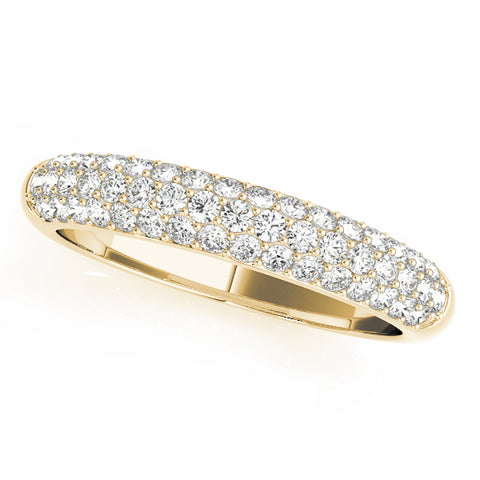 yellow gold triple row diamond pave wedding band