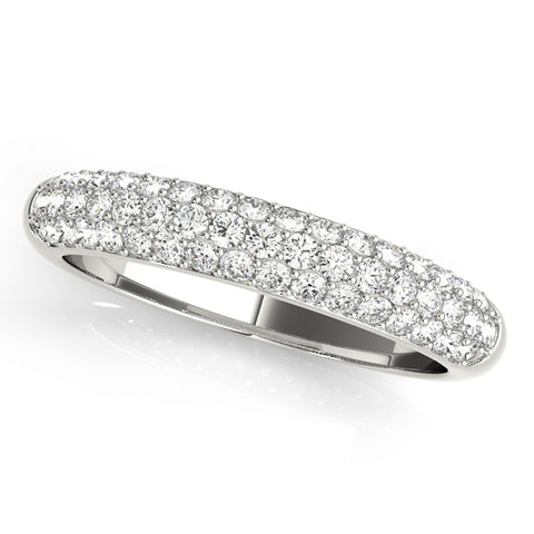 white gold triple row diamond pave wedding band