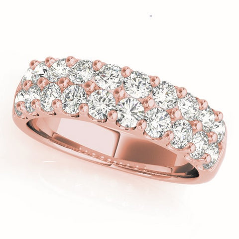 rose gold double row diamond pave wedding band