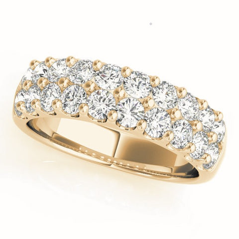 yellow gold double row diamond pave wedding band