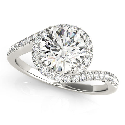 White gold bypass halo diamond engagement ring