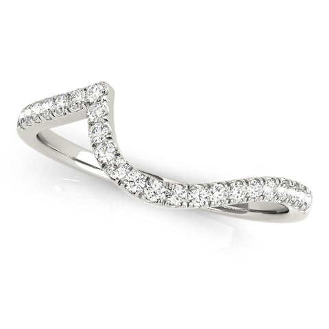 white gold curved diamond wedding band