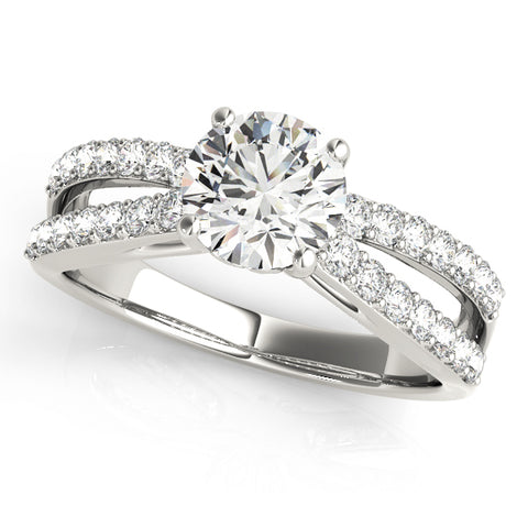 platinum open shank diamond engagement ring