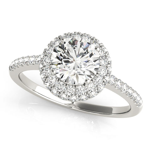 white gold diamond engagement ring with a double halo