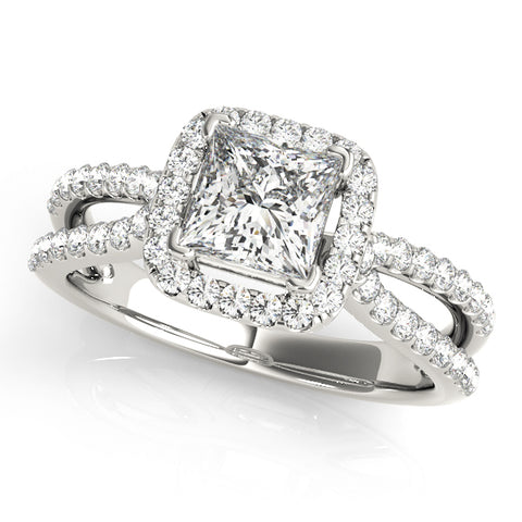 platinum princess cut halo diamond engagement ring