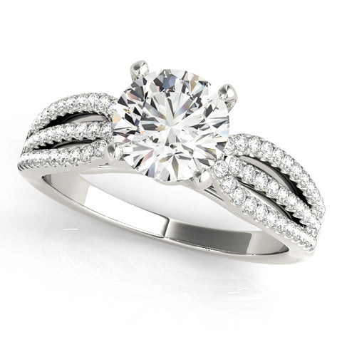 white gold triple row diamond engagement ring