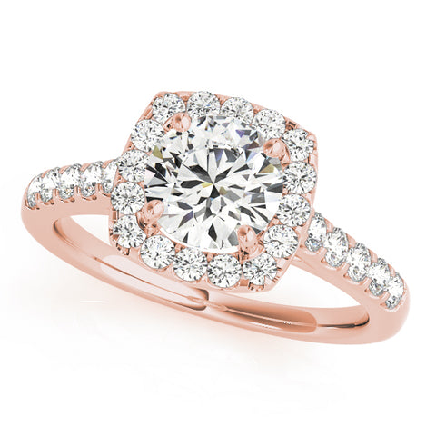rose gold diamond halo round engagement ring