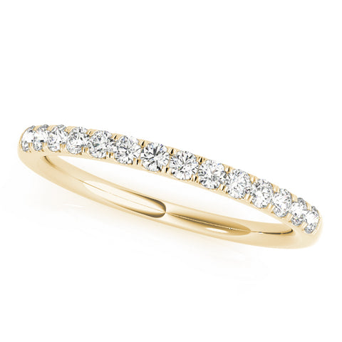 yellow gold single row diamond wedding band