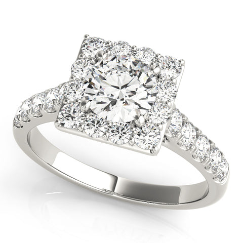 white gold square halo engagement ring
