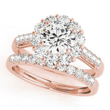 rose gold single row diamond wedding band with rose gold halo diamond engagement ring