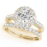 yellow gold single row diamond wedding band and yellow gold halo diamond engagement ring