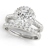 white gold single row diamond wedding band and white gold halo diamond engagement ring