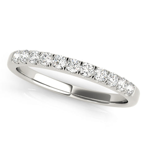 white gold single row diamond wedding band