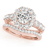 rose gold halo diamond engagement ring and rose gold curved diamond wedding band