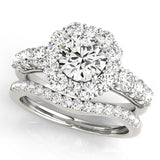 white gold curved diamond wedding band and white gold halo diamond engagement ring