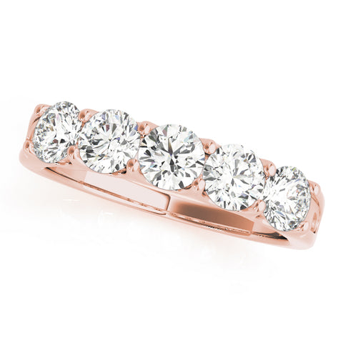 rose gold 5-stone diamond wedding band