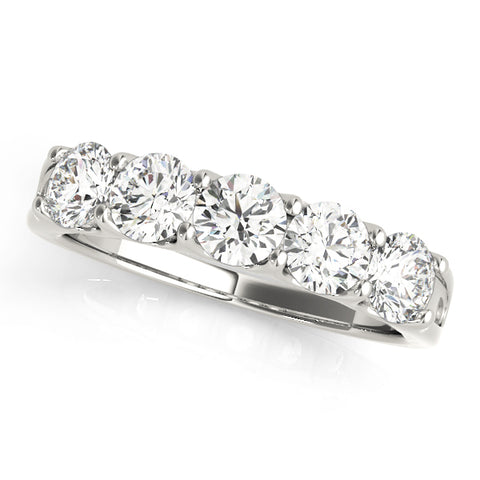 white gold 5-stone diamond wedding band