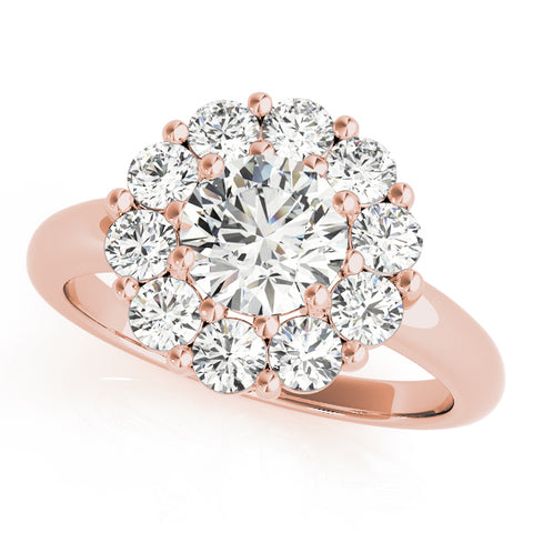 rose gold round halo diamond engagement ring