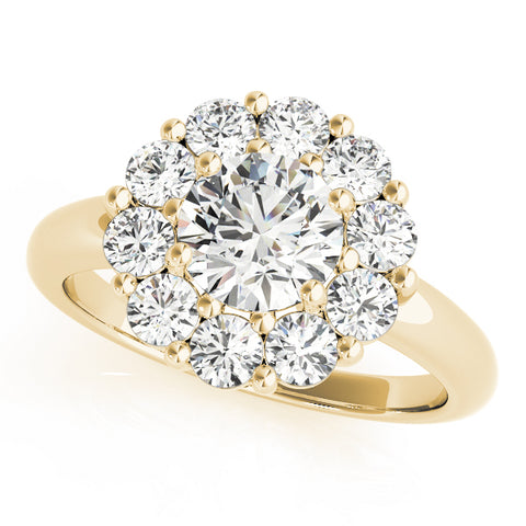 yellow gold round halo diamond engagement ring