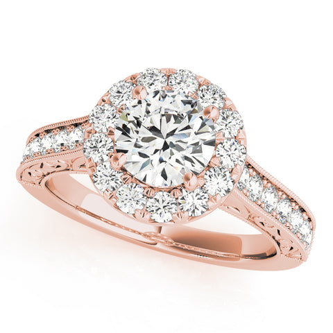 18kt Rose Gold Engraved Halo Engagement Ring Setting