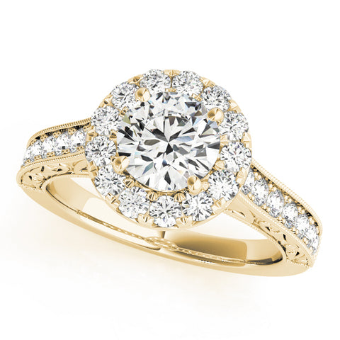 yellow gold engraved diamond halo engagement