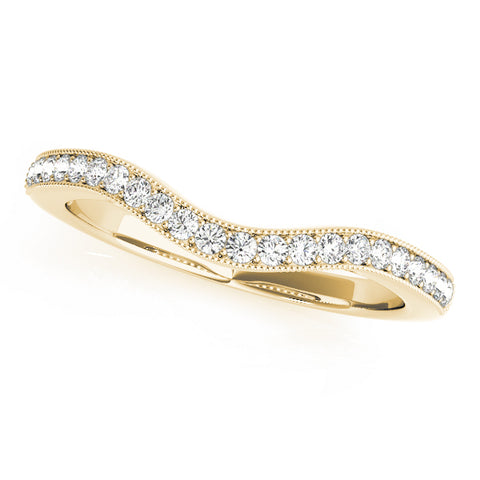 yellow gold curved diamond wedding band
