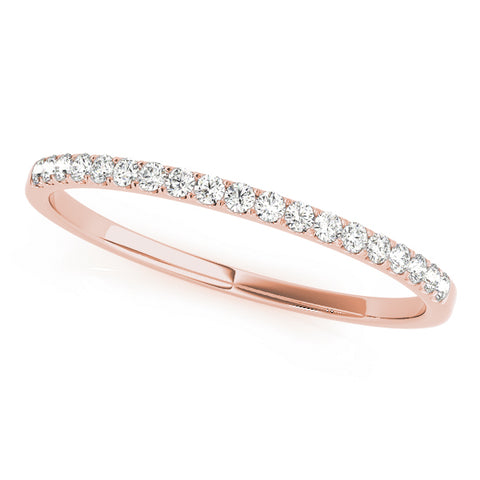 rose gold single row diamond wedding band