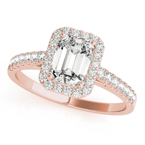 rose gold emerald cut halo engagement ring